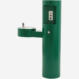 Outdoor Pedestal Bottle Filler with Barrier-Free Drinking Fountain