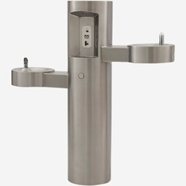 Outdoor Pedestal Bottle Filler with Barrier-Free Bi-Level Drinking Fountains