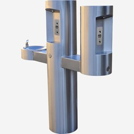 Outdoor Barrier-Free Pedestal Dual Bottle Filler with Drinking Fountain