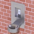 Recessed Outdoor Bottle Filler with Round Drinking Fountain
