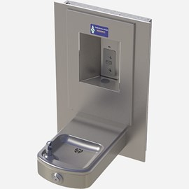 Rounded Box, Barrier-Free Wall Mount Drinking Fountain with Vandal Resistant Button and Sensor Bottle Filler