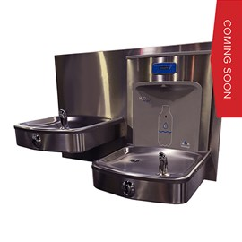 Barrier-Free, Bi-Level Drinking Fountain with Vandal Resistant Buttons and H2O to go!® Deck Mount Sensor Bottle Filler