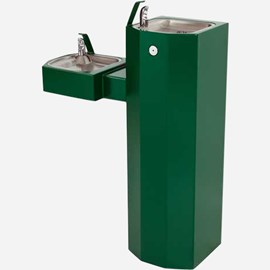Barrier-Free Bi-Level Square Stainless Steel Pedestal Drinking Fountain