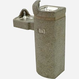 Barrier-Free Bi-Level Concrete Square Pedestal Drinking Fountain