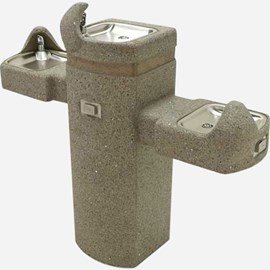Barrier-Free Tri-Level Concrete Square Pedestal Drinking Fountain