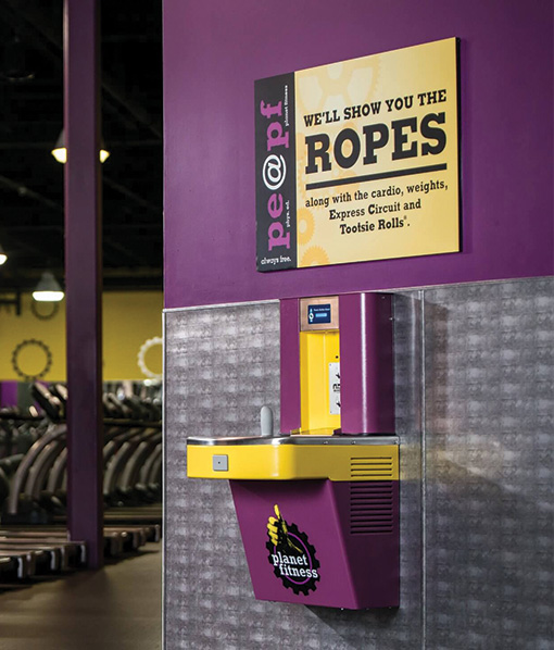 Custom Electric Water Cooler for Planet Fitness