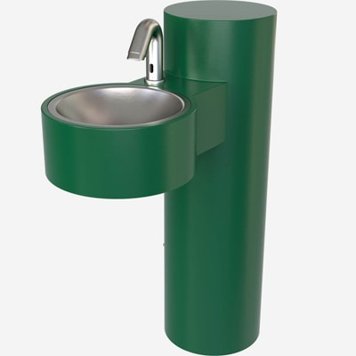 GWJ84 Outdoor Hand Washing Station, Pedestal Mount, Stainless Steel, ADA-compliant & Lead-Free