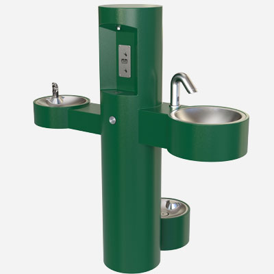 GWQ84 Outdoor Hand Washing Station, Drinking Fountain & Water Bottle Filler