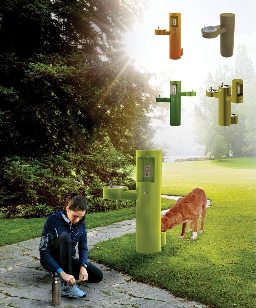 custom branded outdoor drinking fountains